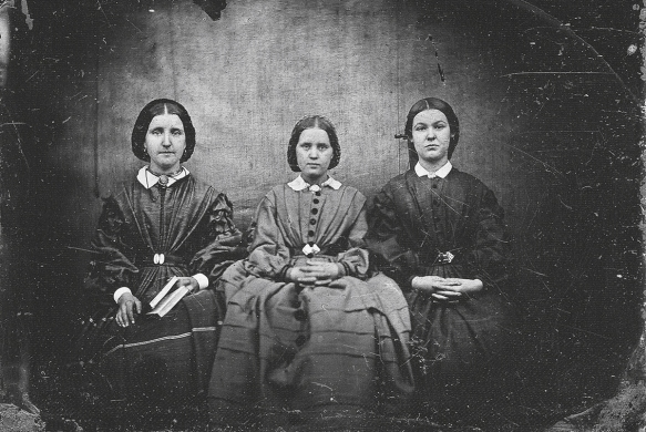 Is this a photo of the Bronte sisters? L to R: Charlotte, Anne and Emily Bronte