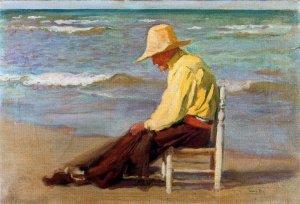 Hombre en la playa. Cecilio Pla y Gallardo.